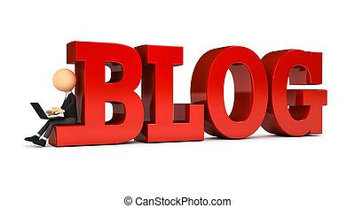 blog, osoba, tworzenie, 3d