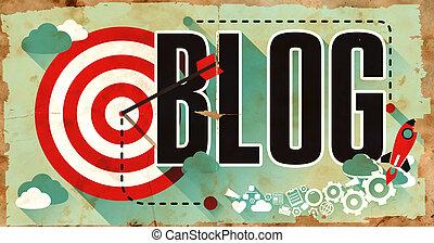 blog, płaski, design., grunge, afisz