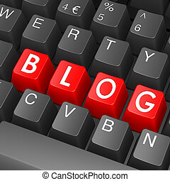 blog, palabra, negro, teclado