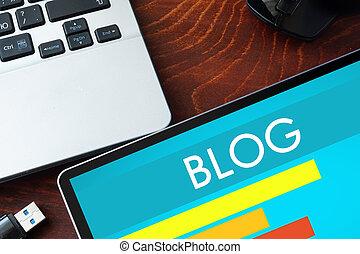 blog, palabra, tableta