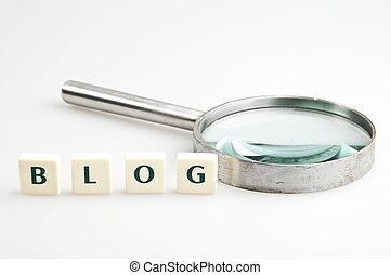 blog, parola, e, lente ingrandimento
