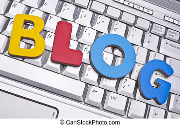 Blog Conceptual Image with the Word Blog on a Laptop...