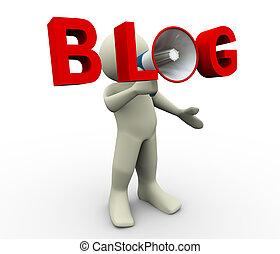 blog, porte voix, 3d, homme