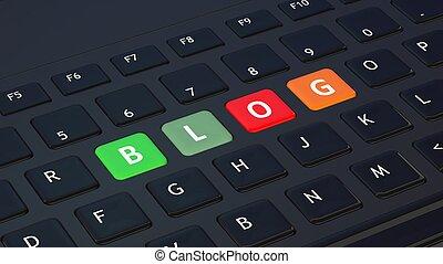 blog, primer plano, negro, palabra, teclado