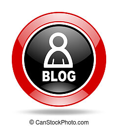blog red and black web glossy round icon