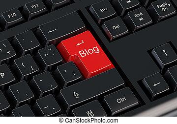 Blog red keyboard button