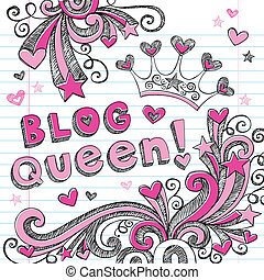 blog, reine, diadème, sketchy, doodles