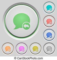 blog, resposta, empurrão, comentário, botões