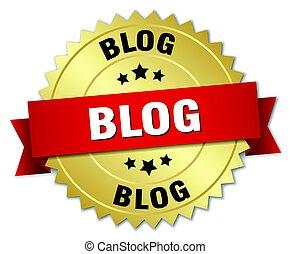 blog round isolated gold badge