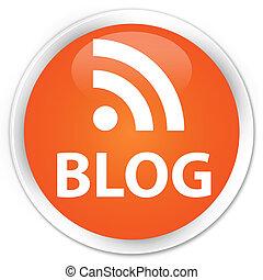 Blog (rss news) icon glossy orange round button