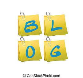 blog, set, di, piantoni, illustrazione, disegno