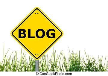 blog sign - blog traffic sign showing internet or ...