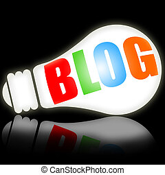 Blog, social media concept with bright electric lamp vs...