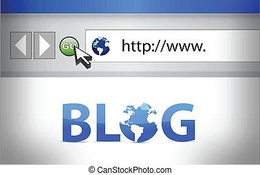 blog, sparare, schermo, illustrazione, browser