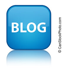 Blog special cyan blue square button