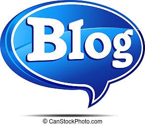 Blog Speech Bubble - 3D Blog Icon Speech bubble