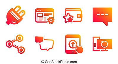 Blog, Speech bubble and Swipe up icons set. Electric plug, Loyalty program and Share signs. Vector