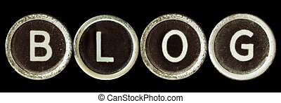 "Blog - ""Blog"" spelled out with old typewriter keys, covered ..."