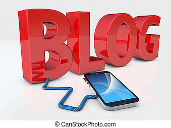 blog, téléphone, intelligent