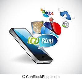 blog, téléphone, média, outils, illustration, conception