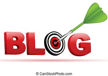 blog, tabla, blanco, muestra de la flecha