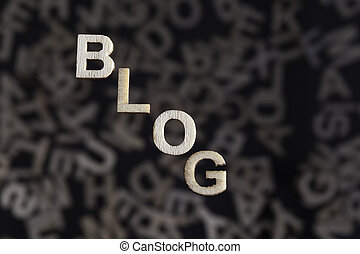 Blog text in wooden letters on angle