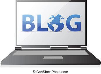 blog text on a laptop screen