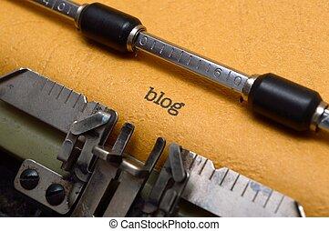 blog, text, på, skrivmaskin