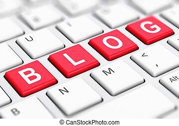 Blog text word on computer keyboard keys