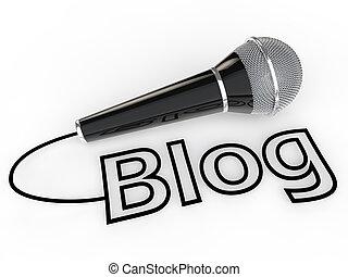Caixa, microfone, comunicação, parte, blog, opinião. Site web, formulários,  microfone, ou, palavra, artigos, comunicação,