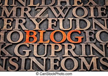 blog, type, résumé, bois, mot