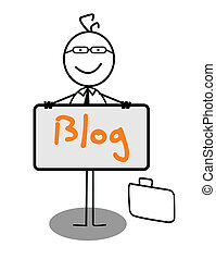 blog, uomo affari, bandiera