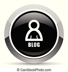 Blog vector steel icon. Chrome border round web button. Silver metallic pushbutton.
