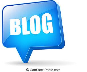 blog, vektor, bubbla