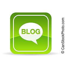 blog, verde, icona