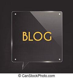 blog, vetro, illustrazione, icona