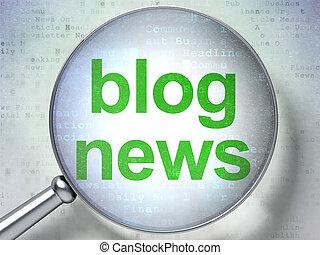 blog, vetro, ottico, concept:, notizie