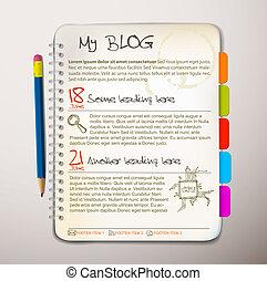 blog, web site, modelo