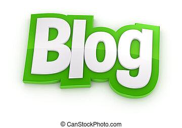 blog, weißes, wort, hintergrund, 3d