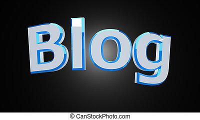 Blog white blue word