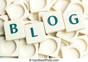 blog, woord, gemaakt, door, leter, stukken
