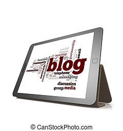 blog, woord, wolk, wolk, op, tablet