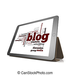 Blog word cloud cloud on tablet
