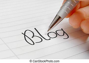 Blog word handwriting background.