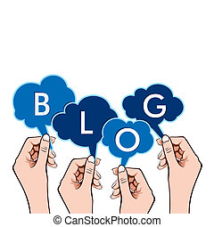BLOG word in hand