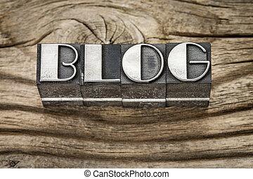 blog word in metal type