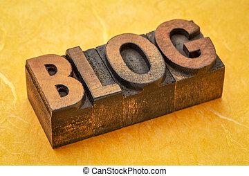 blog word in vintage wood type