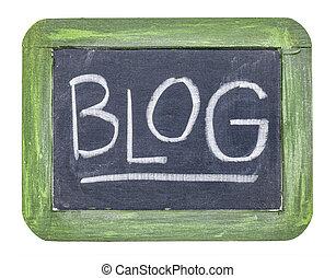 blog word on isolated slate blackboard