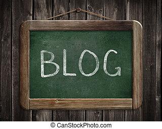 Blog word written on blackboard