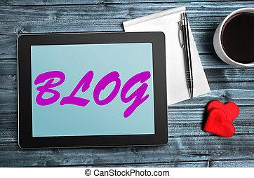 Blog words on tablet